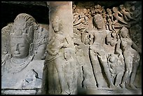 Mahesh Murti and Gangadhara Siva carved in rock, main  Elephanta cave. Mumbai, Maharashtra, India