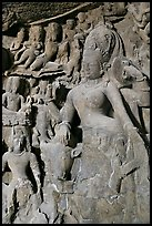 Ardhanarishwar rock-carved sculpture, main Elephanta cave. Mumbai, Maharashtra, India (color)