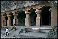 Cave hewn from solid rock, Elephanta Island. Mumbai, Maharashtra, India