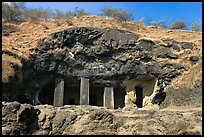 Rock-caved cave, Elephanta Island. Mumbai, Maharashtra, India