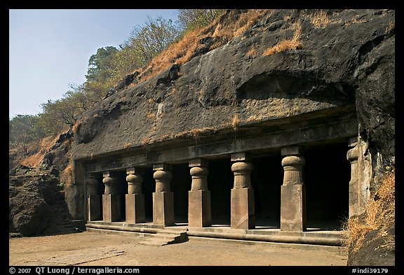 Outside of rock-cut cave, Elephanta Island. Mumbai, Maharashtra, India (color)