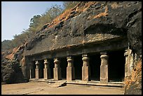 Outside of rock-cut cave, Elephanta Island. Mumbai, Maharashtra, India