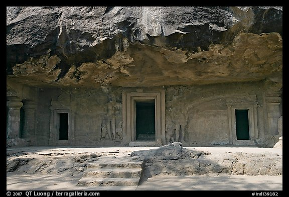 Cave with sculptures and entrances, Elephanta Island. Mumbai, Maharashtra, India