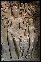 Gangadhara (descent of the Ganges) sculpture, main Elephanta cave. Mumbai, Maharashtra, India (color)