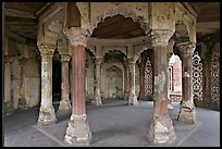 Pilars in octogonal plan inside Jehangiri Mahal, Agra Fort. Agra, Uttar Pradesh, India