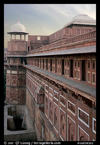 Outside walls of Jehangiri Mahal and Agra Fort. Agra, Uttar Pradesh, India (color)