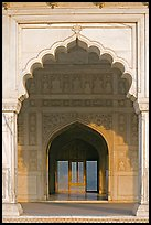 Arches and perforated marble screen, Khas Mahal, Agra Fort. Agra, Uttar Pradesh, India