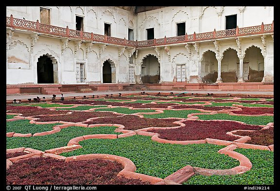 Ornamental gardens, Agra Fort. Agra, Uttar Pradesh, India