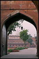 Gate and Moti Masjid in background, Agra Fort. Agra, Uttar Pradesh, India (color)