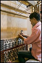 Man making a carpet. Agra, Uttar Pradesh, India (color)