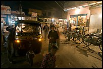 Rickshaw and street by night, Taj Ganj. Agra, Uttar Pradesh, India