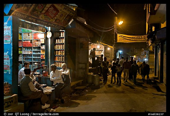 Store and street by night, Taj Ganj. Agra, Uttar Pradesh, India (color)