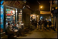 Store and street by night, Taj Ganj. Agra, Uttar Pradesh, India
