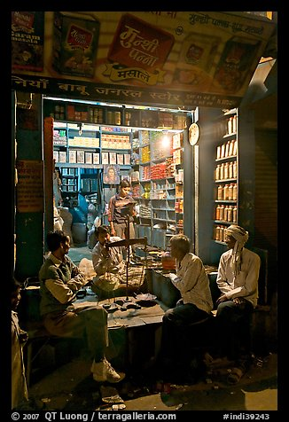 Store by night, Taj Ganj. Agra, Uttar Pradesh, India