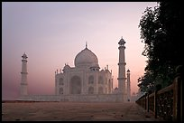 Mausoleum at sunrise, Taj Mahal. Agra, Uttar Pradesh, India (color)