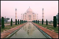 Ornamental gardens and Taj Mahal, sunrise. Agra, Uttar Pradesh, India (color)