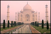 Taj Mahal, charbagh gardens, and watercourse, sunrise. Agra, Uttar Pradesh, India