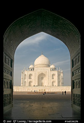 Taj Mahal seen through arch of Jawab, morning. Agra, Uttar Pradesh, India