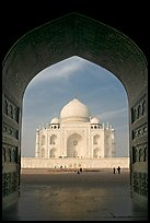 Taj Mahal seen through arch of Jawab, morning. Agra, Uttar Pradesh, India (color)