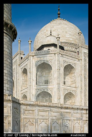 Base, dome, and minaret, Taj Mahal. Agra, Uttar Pradesh, India