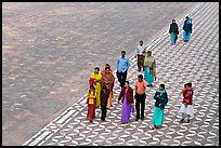 Families walking on decorated terrace, Taj Mahal. Agra, Uttar Pradesh, India