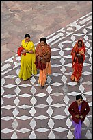 Women walking on decorated terrace, Taj Mahal. Agra, Uttar Pradesh, India