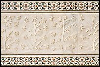 Vegetative motifs on white marble dados, Taj Mahal. Agra, Uttar Pradesh, India (color)