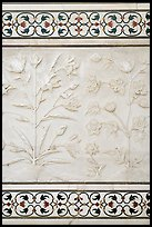 Bas reliefs and pietra dura inlays of flowers, Taj Mahal. Agra, Uttar Pradesh, India (color)