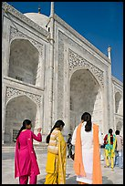 Women in colorful Shalwar suits, Taj Mahal. Agra, Uttar Pradesh, India