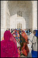Women in front of main Iwan, Taj Mahal,. Agra, Uttar Pradesh, India (color)