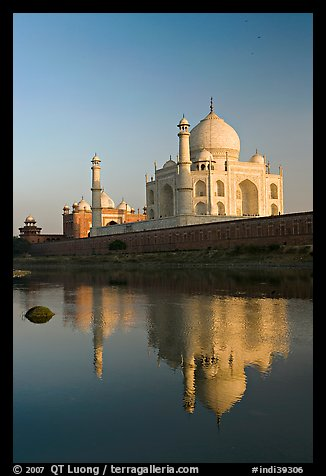 Taj Mahal reflected in Yamuna River. Agra, Uttar Pradesh, India