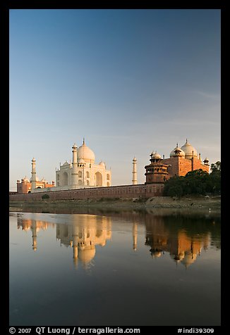 Taj Mahal complex reflected in Yamuna River. Agra, Uttar Pradesh, India (color)