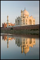 Taj Mahal and Jawab reflected in Yamuna River. Agra, Uttar Pradesh, India (color)