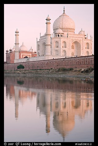 Taj Mahal and Jawab reflected in Yamuna River, sunset. Agra, Uttar Pradesh, India (color)