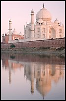 Taj Mahal and Jawab reflected in Yamuna River, sunset. Agra, Uttar Pradesh, India