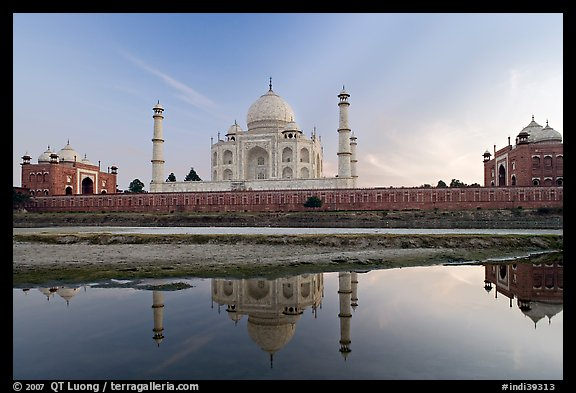 Taj Mahal complex seen from  Yamuna River. Agra, Uttar Pradesh, India (color)