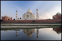 Taj Mahal complex seen from  Yamuna River. Agra, Uttar Pradesh, India