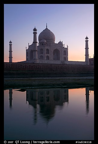 Taj Mahal and Yamuna River at sunset. Agra, Uttar Pradesh, India (color)