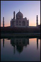 Taj Mahal and Yamuna River at sunset. Agra, Uttar Pradesh, India
