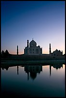 Taj Mahal reflected in  Yamuna River at sunset. Agra, Uttar Pradesh, India
