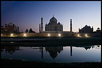 Jawab, Taj Mahal, and Taj Mahal mosque over Yamuna River at dusk. Agra, Uttar Pradesh, India (color)