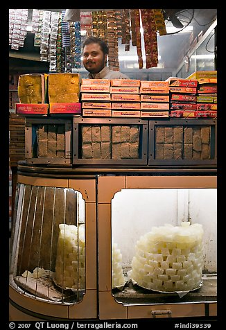 Store selling peitha squares, a local sweet. Agra, Uttar Pradesh, India