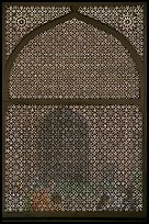 Jali (marble lattice screen) in Shaikh Salim Chishti mausoleum. Fatehpur Sikri, Uttar Pradesh, India (color)