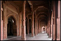 Arches and prayer hall, Dargah mosque. Fatehpur Sikri, Uttar Pradesh, India (color)