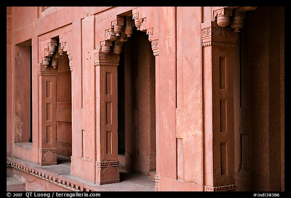 Facade detail of the Treasury building. Fatehpur Sikri, Uttar Pradesh, India (color)