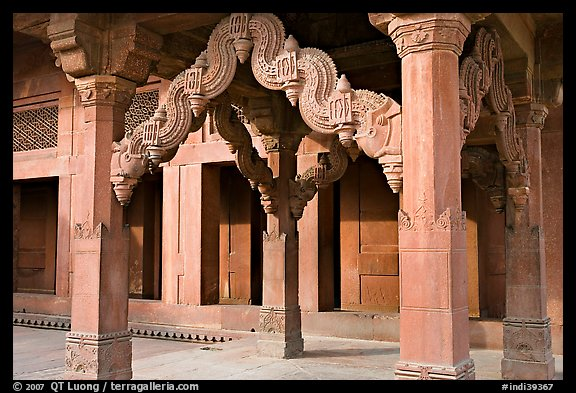 Columns in front of the Treasury building. Fatehpur Sikri, Uttar Pradesh, India (color)