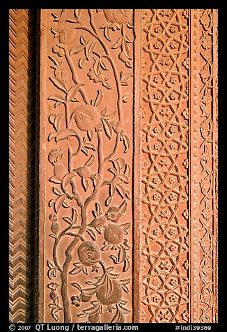 Intricate carvings on the Rumi Sultana building. Fatehpur Sikri, Uttar Pradesh, India