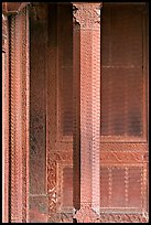 Carved columns and wall of the Rumi Sultana building. Fatehpur Sikri, Uttar Pradesh, India (color)