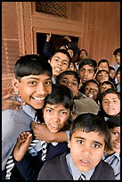 Group of schoolboys in front of Rumi Sultana. Fatehpur Sikri, Uttar Pradesh, India (color)