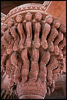 Plinth topping stone column, inside Diwan-i-Khas. Fatehpur Sikri, Uttar Pradesh, India (color)